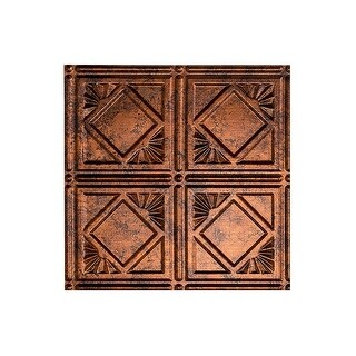 Fasade Traditional Style/Pattern #4 Decorative Vinyl 2ft x 4ft Glue Up Ceiling Tile in Moonstone Copper (5 Pack) (12x12 Inch Sample)