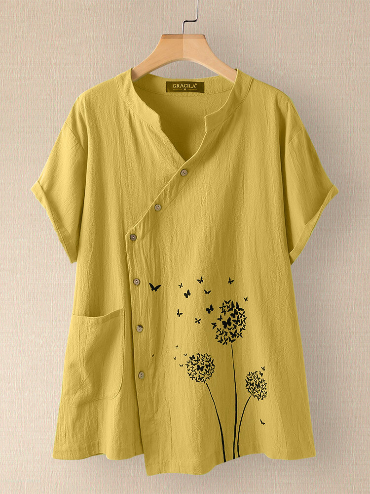 Butterfly Flower Print Irregular Button Short Sleeve 100% Cotton Blouse With Pocket