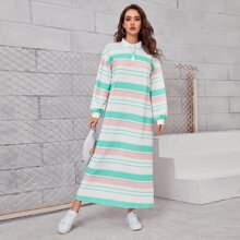 Drop Shoulder Striped Colorblock Polo Dress