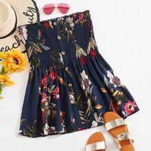 Plus Floral Print Shirred Tube Top
