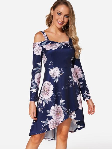 Yoins Navy Random Floral Print Cold Shoulder Long Sleeves Dress