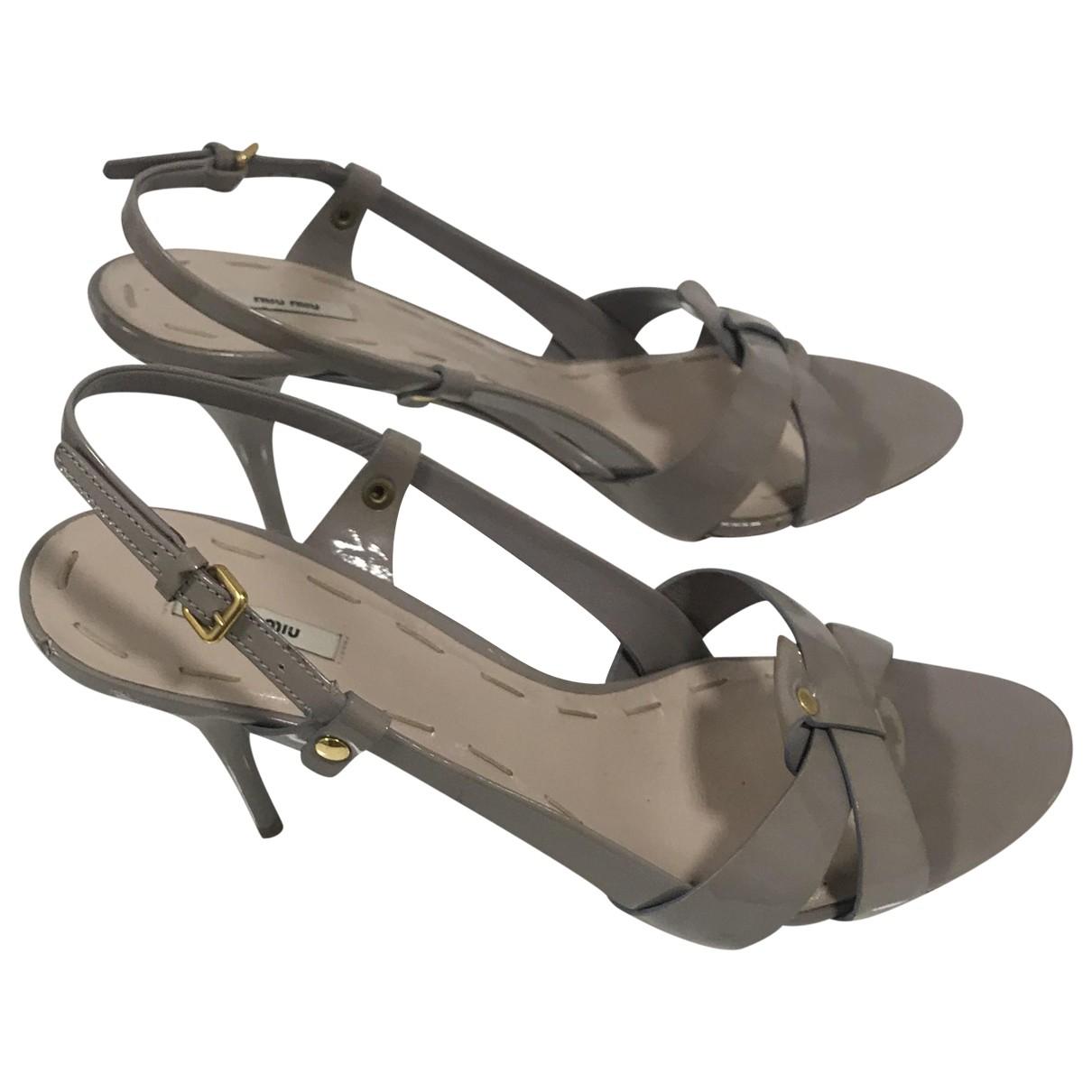 Miu Miu - Sandales   pour femme en cuir - ecru