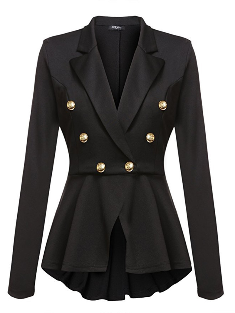 Ericdress Plain Double-Breasted Mid-Length Long Sleeve Blazer