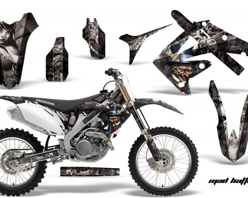 AMR Racing Dirt Bike Graphics Kit Decal Sticker Wrap For Honda CRF250R 2010-2013áHATTER SILVER BLACK