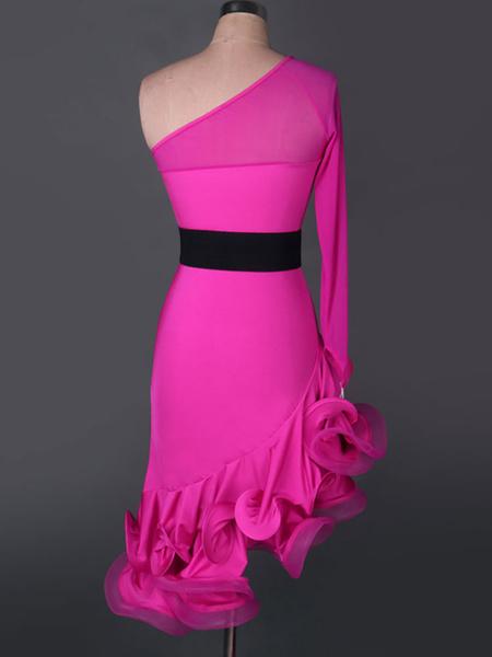 Milanoo Dance Costumes Latin Dancer Dresses Organza One Shoulder Long Sleeve Semi Sheer Irregular Sash Ruffles Dancing Clothes Hallloween