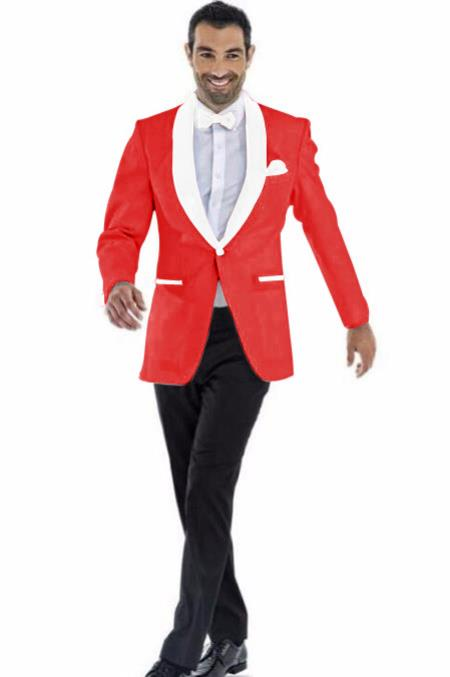 Mens Blazer Red ~ White