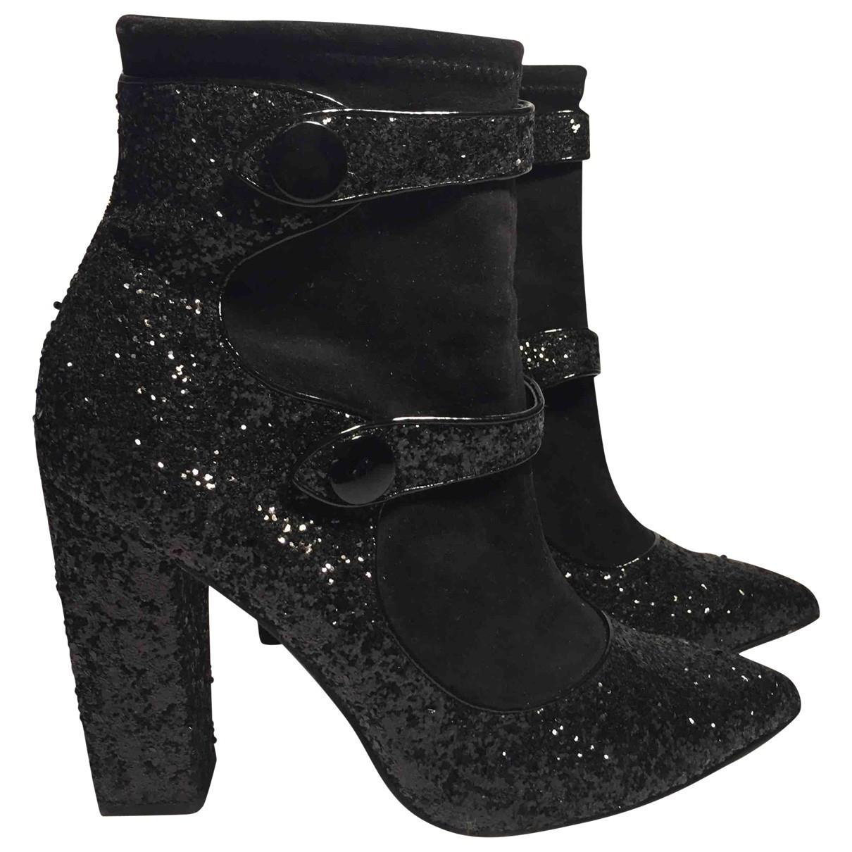 Asos - Boots   pour femme en a paillettes - noir