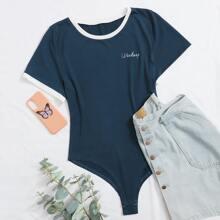Plus Letter Graphic Contrast Binding Bodysuit