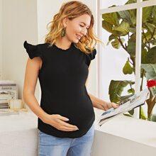 Maternidad top tejido de canale de sisa fruncido de cuello fruncido