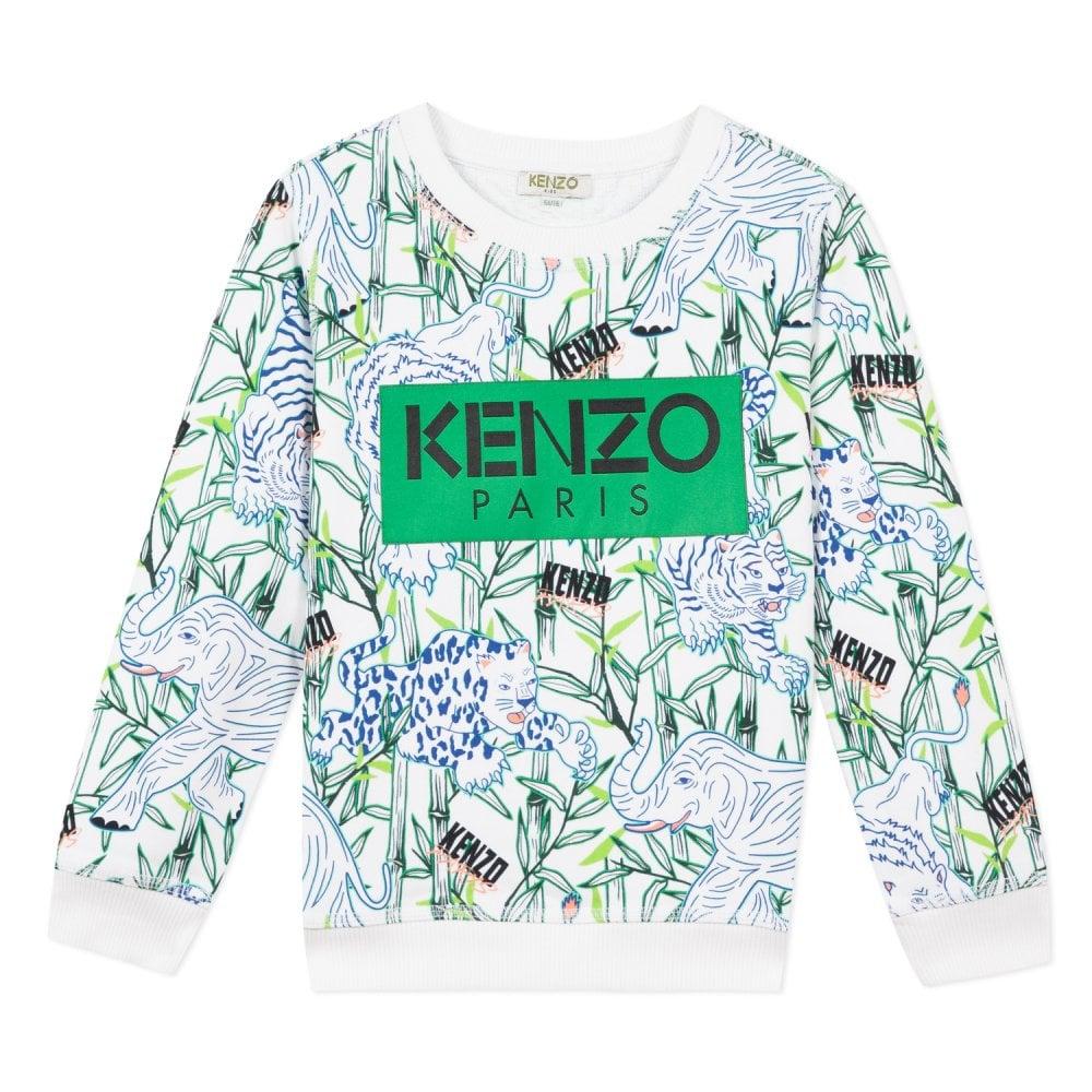Kenzo Kids Paris Logo Jungle Pattern Sweatshirt Colour: WHITE, Size: 12 YEARS