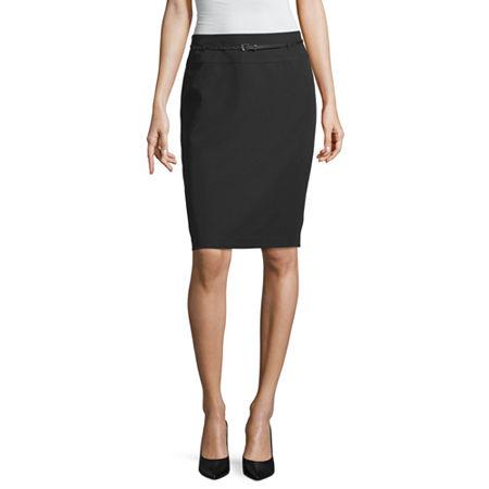 Liz Claiborne Belted Pencil Skirt, 2 , Black