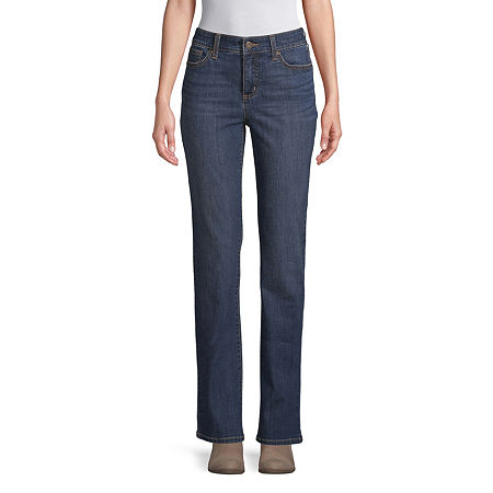 St. John's Bay Womens Mid Rise Straight Leg Jean, 10 , Blue