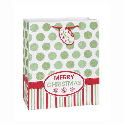 Grand sac cadeau Joyeux Noël, 13 x 10,5 x 5,5 po, 1 ct