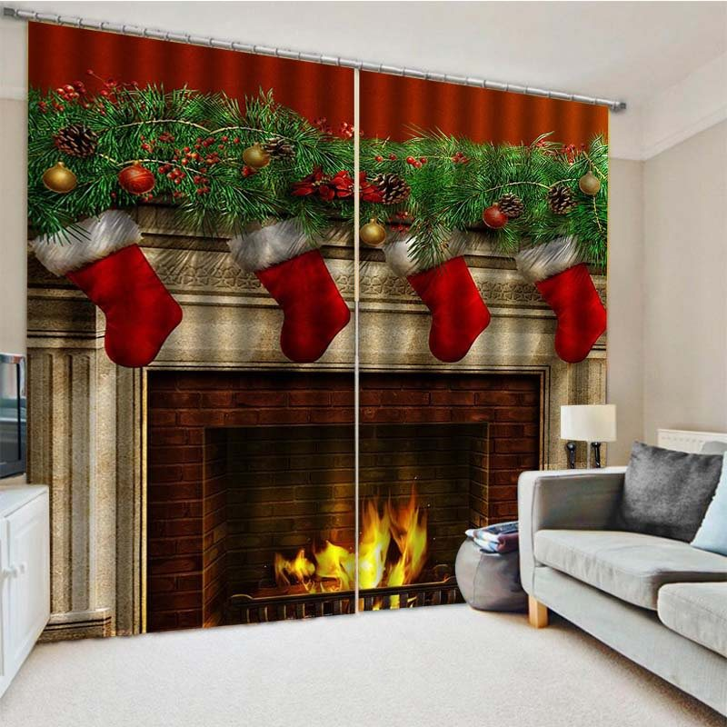 3D Christmas Stockings and Fireplace Print Blackout Decorative Curtains for Living Room Bedroom