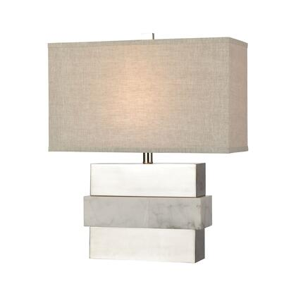 D4289 Keystone Table Lamp  In White And Silver -