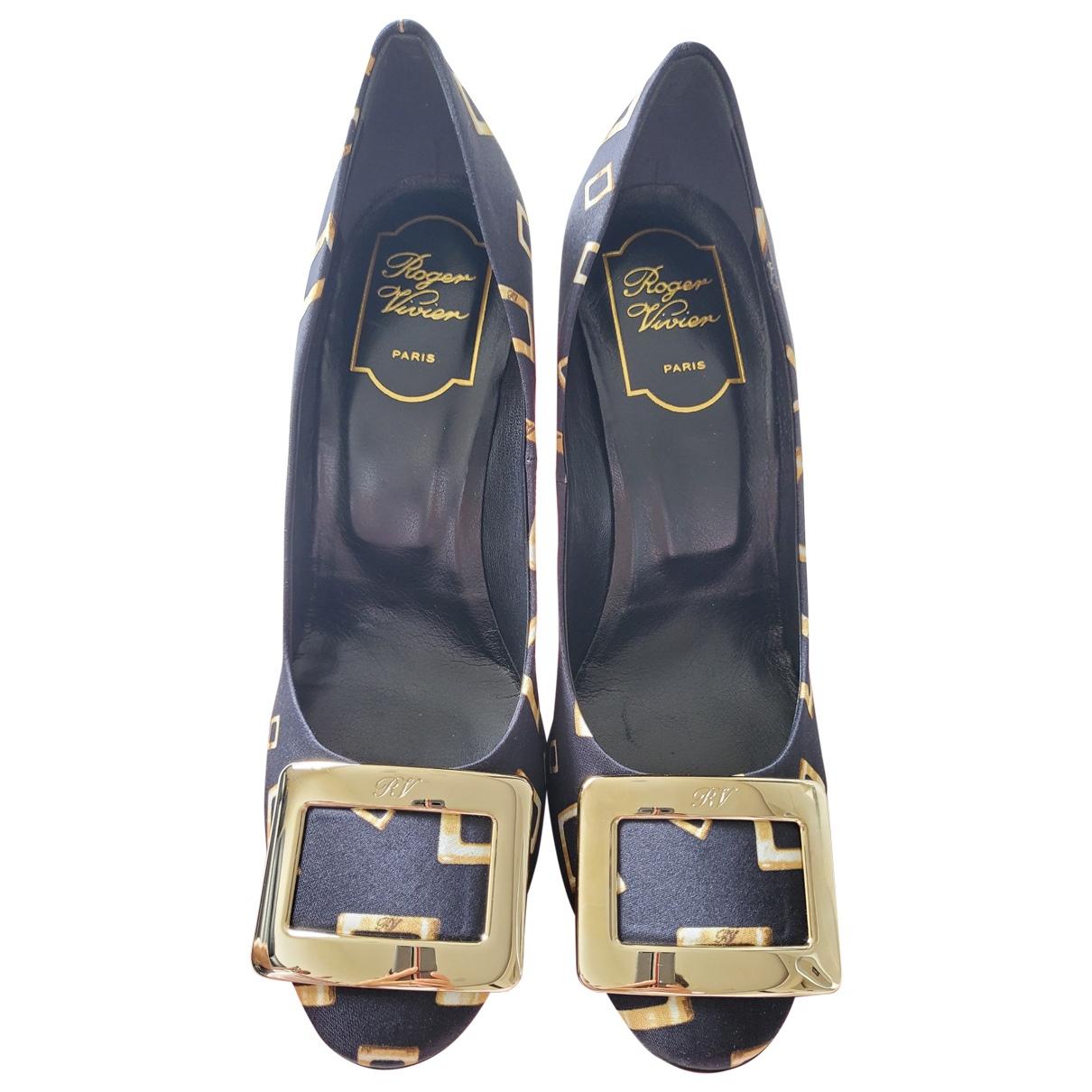 Roger Vivier Belle de Nuit Black Cloth Heels for Women 36.5 EU