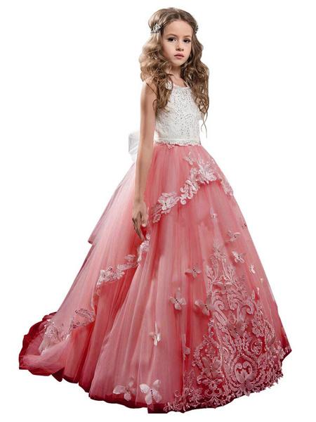 Milanoo Flower Girl Dresses Jewel Neck Sleeveless Butterfly Formal Kids Princess Dresses