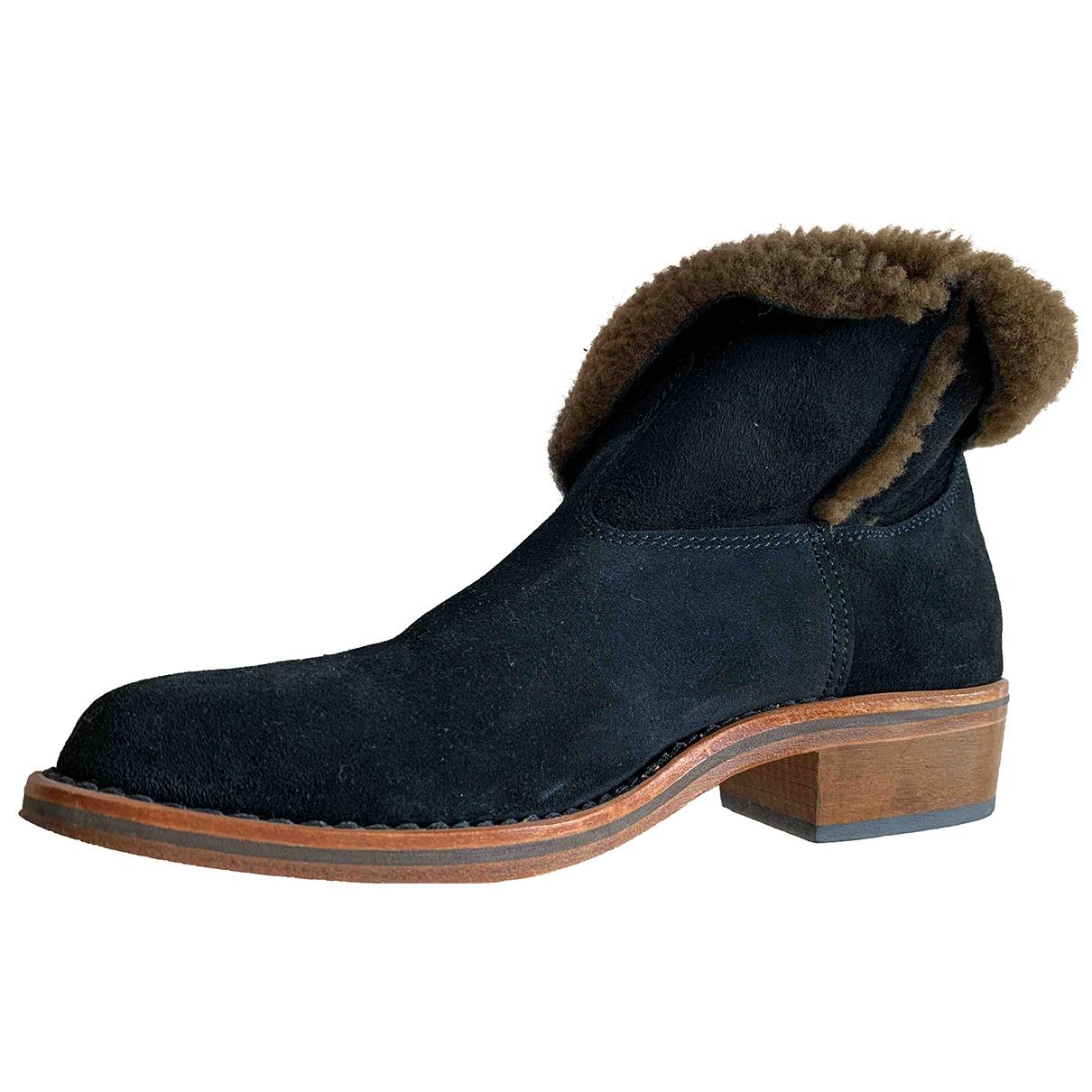 Zef - Boots   pour femme en suede - marine