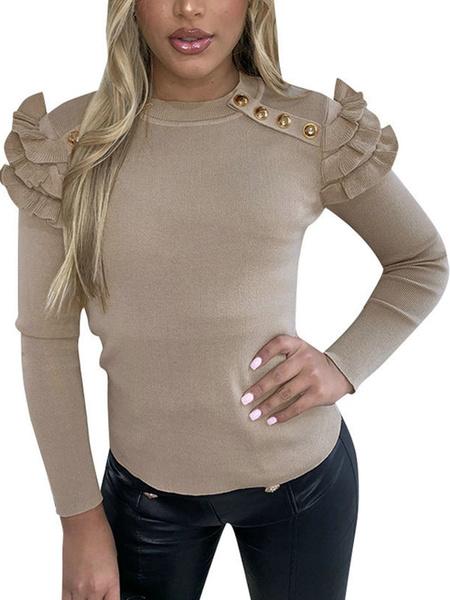 Milanoo Blusa para mujer Botones rojos Cuello joya Casual manga larga Mezcla de algodon Tops