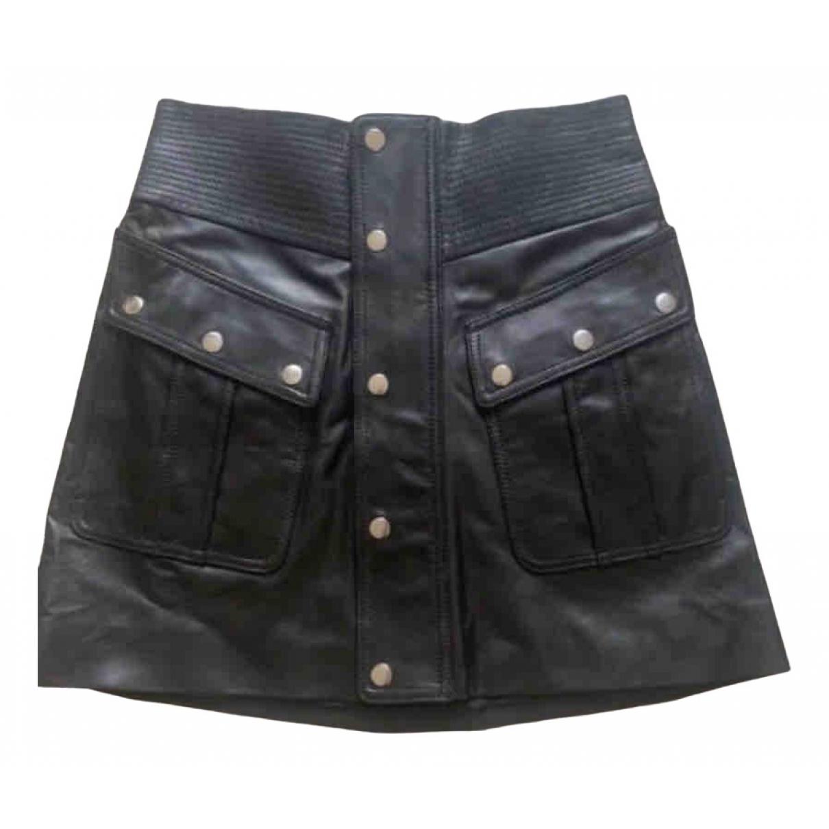 The Kooples - Jupe   pour femme en cuir - noir
