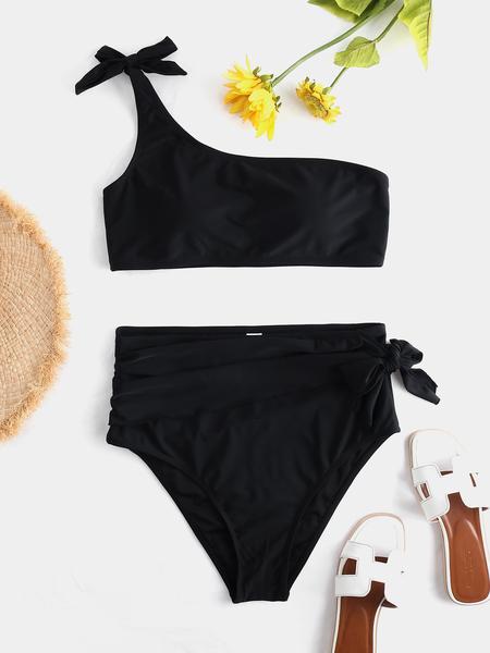 Yoins Black One Shoulder Knotted High-Waisted Bikinis