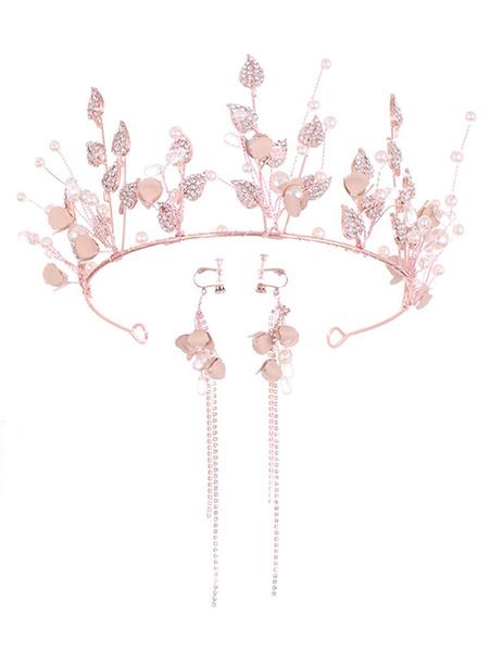 Milanoo Headpiece Wedding Tiara Metal Leaves Crown Bridal Hair Accessories