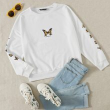 Butterfly And Slogan Graphic Sweatshirt