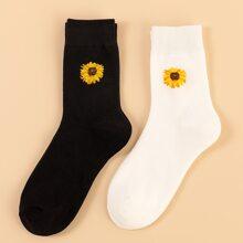 2 pares calcetines patron girasol