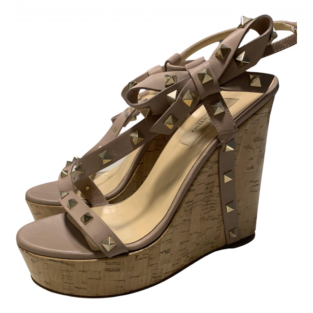 Valentino Garavani Rockstud Beige Leather Sandals for Women 38 EU