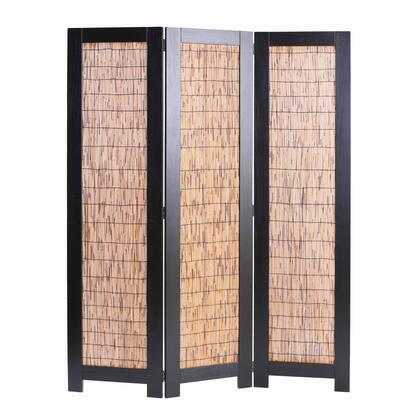 BM205773 Wooden 3 Panel Room Divider with Wicker Panelling  Brown and