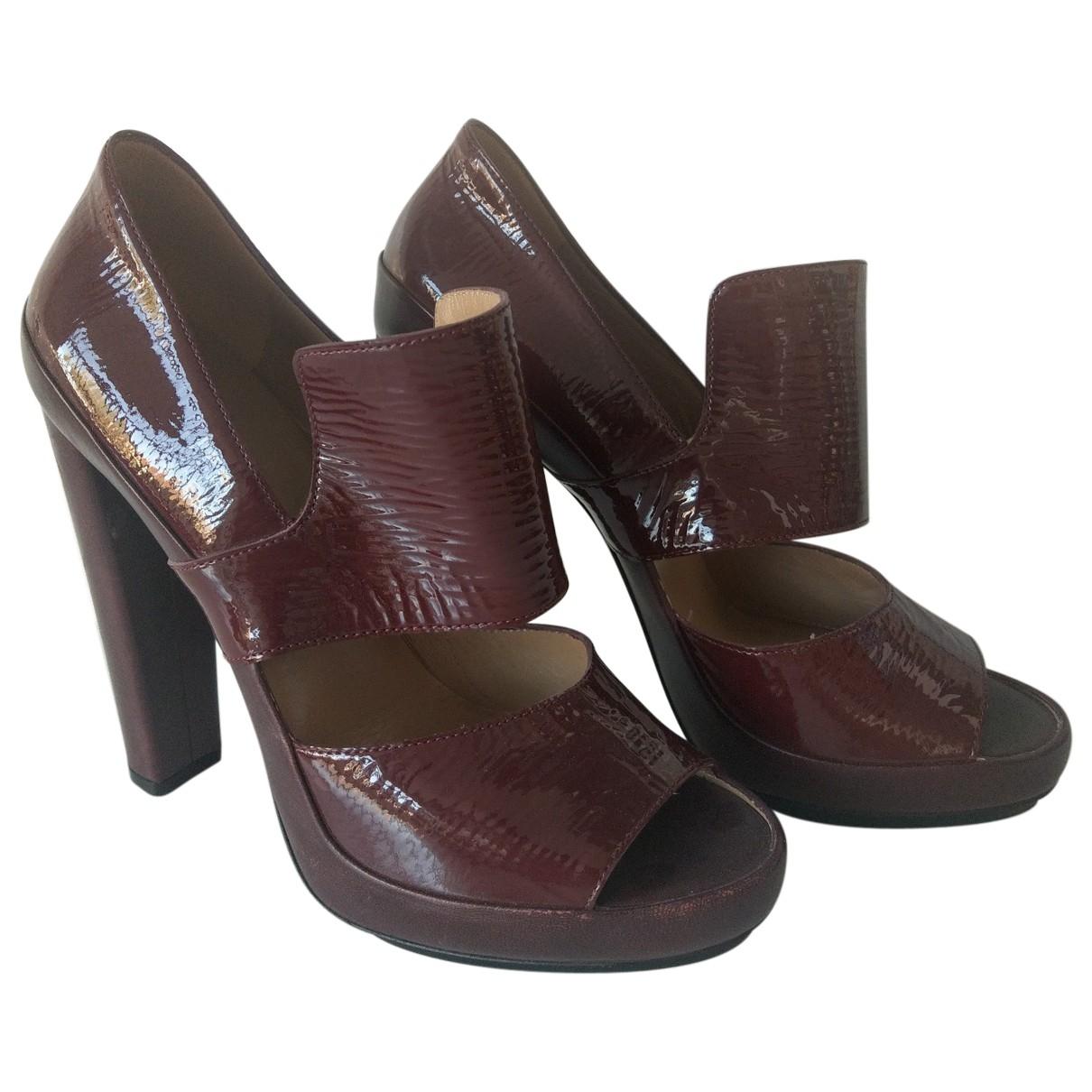 Balenciaga - Escarpins   pour femme en cuir - bordeaux