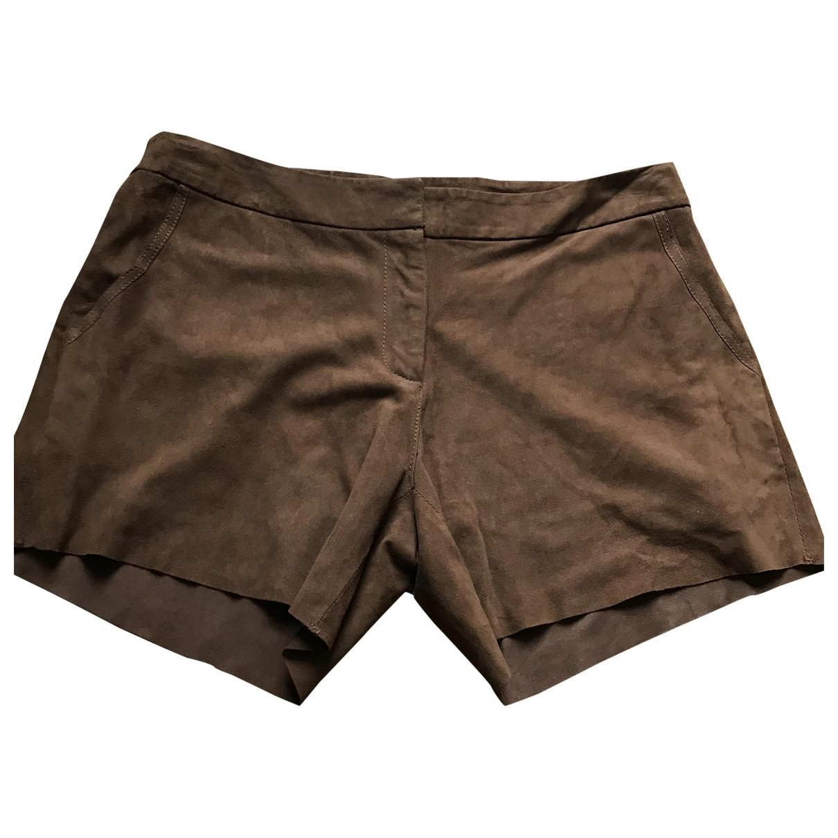 Non Signé / Unsigned \N Brown Leather Shorts for Women 40 FR