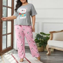 Plus Cartoon Graphic Pajama Set