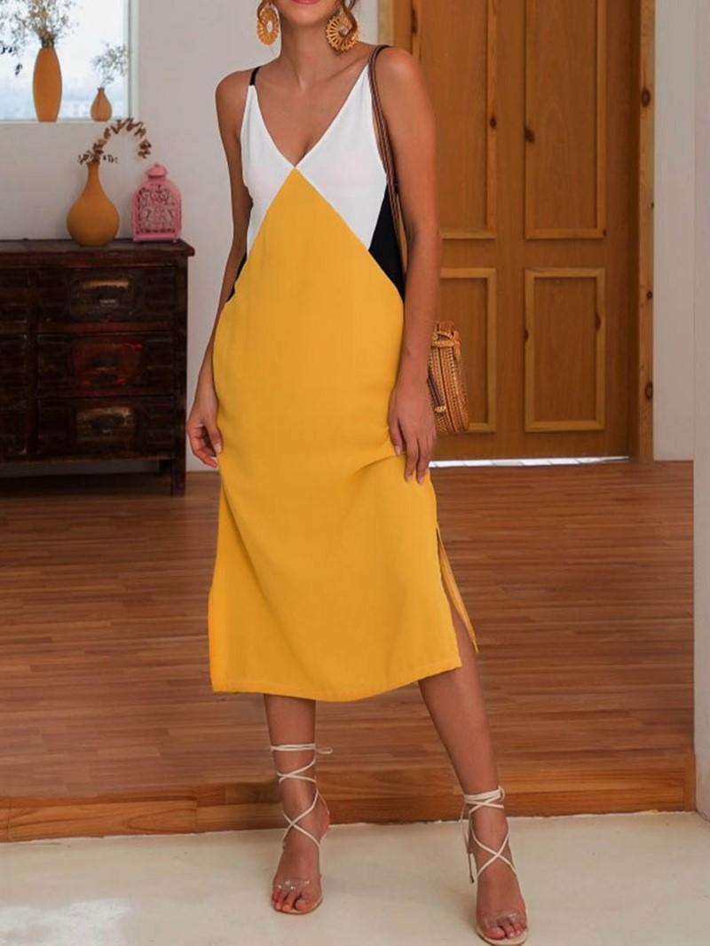 Ericdress Split V-Neck Sleeveless Color Block Casual Dress