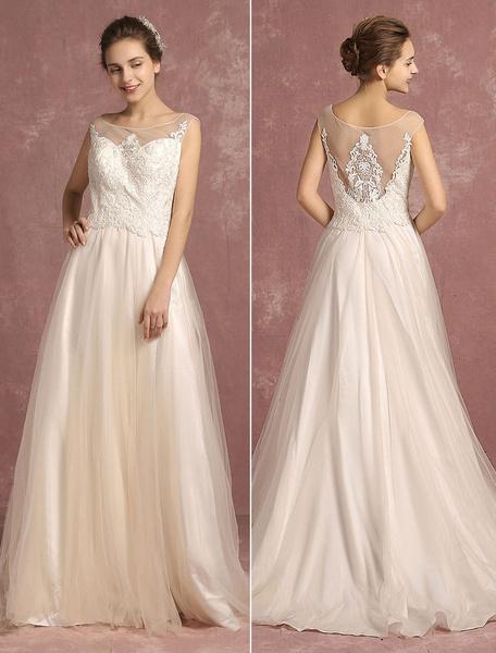 Milanoo Vestido de novia linea A Catedral Con cola con escote ovalado Sin espaldo de linea A sin mangas