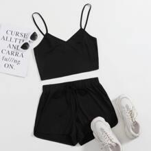 Geripptes Cami Top & Track Shorts Set