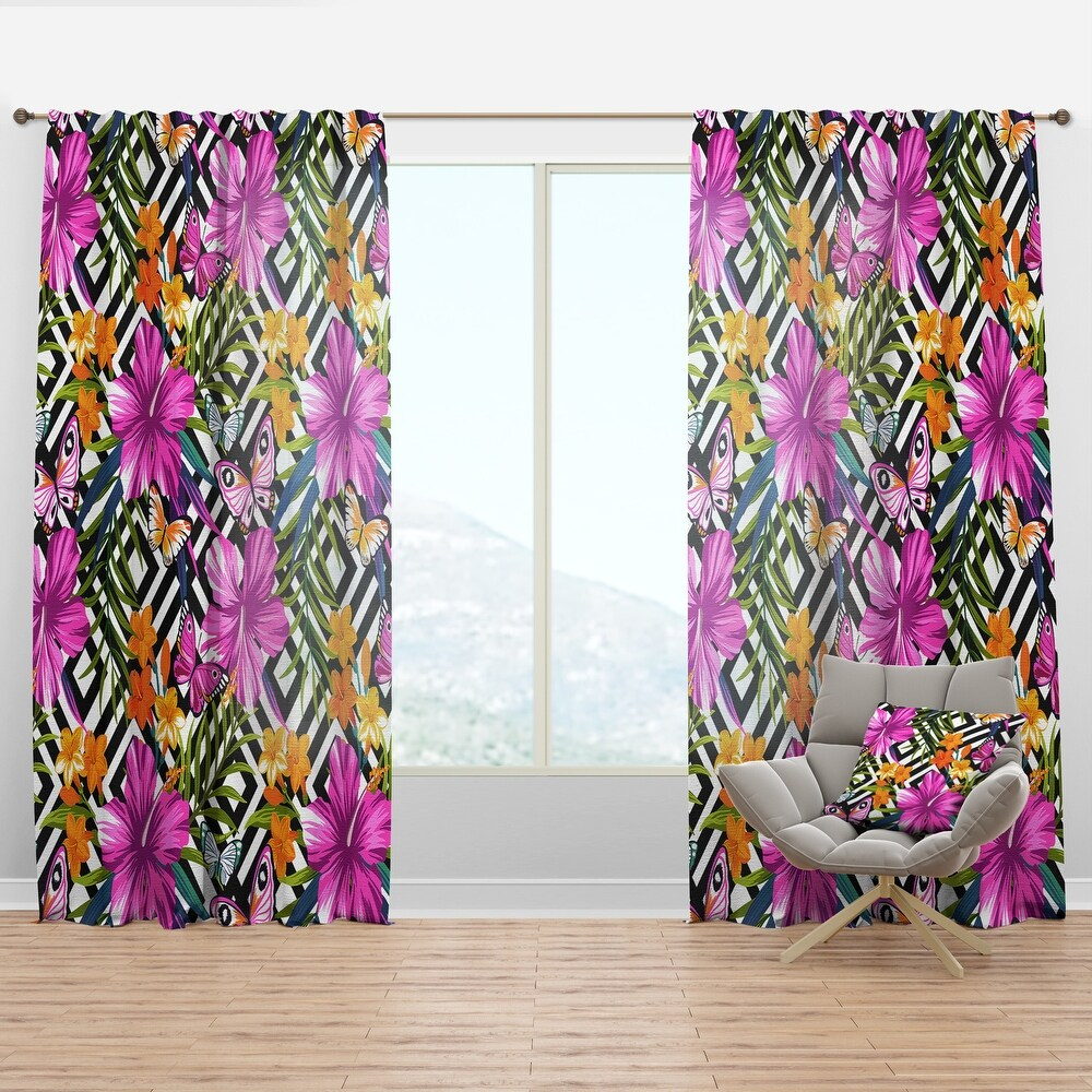 Designart 'Tropical Flowers and Pink Butterflies on Geometric' Floral Curtain Panel (50 in. wide x 90 in. high - 1 Panel)