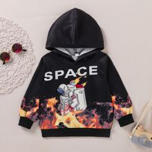 Toddler Boys Letter & Astronaut Print Hoodie