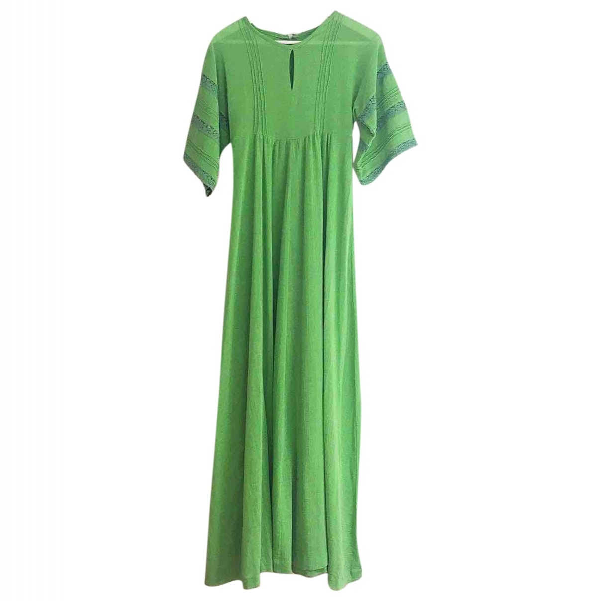 Non Signé / Unsigned Hippie Chic Green Cotton dress for Women M International
