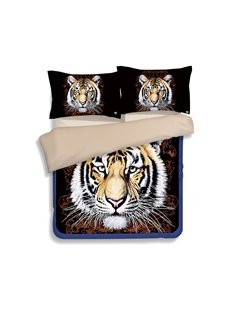 Imperial Tiger 3D Printed Polyester 4-Piece Duvet Cover Sets