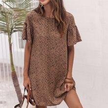 Kleid mit Raffung auf Manschetten und Dalmatiner Muster