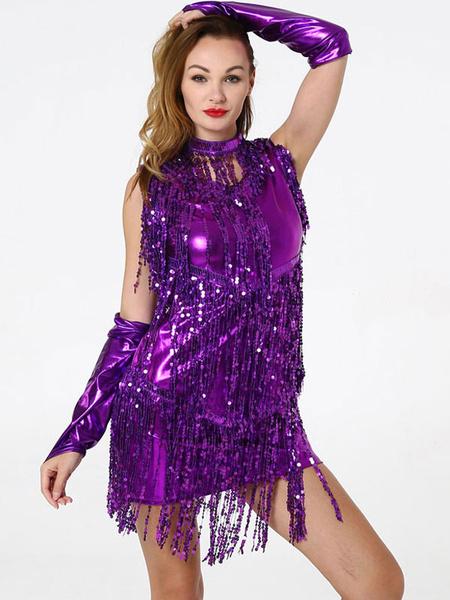 Milanoo Dance Costumes Latin Dancer Dresses Sequin Tassel Women Polyester Skirt Necklace Gloves Gloden Dancing Wear Halloween