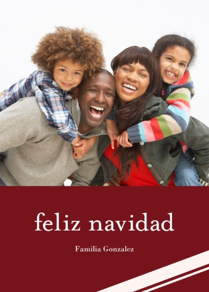 Tarjetas de Navidad 5x7 Folded Cards, Premium Cardstock 120lb, Card & Stationery -Stripe Feliz Navidad