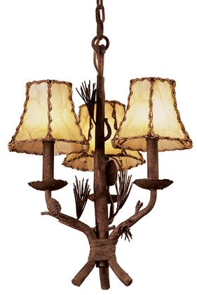 Ponderosa 5034PD/8045 3-Light Chandelier in Ponderosa with Leather Wrapped