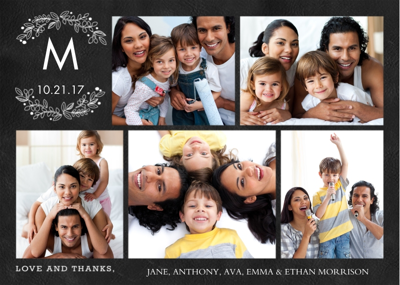 Thank You 5x7 Cards, Standard Cardstock 85lb, Card & Stationery -Thank You Monogram Branches