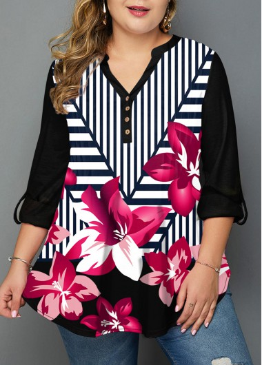 Rosewe Women Plus Size Stripe And Floral Printed Tunic Casual Blouse Black Long Sleeve Split Neck Top - 1X