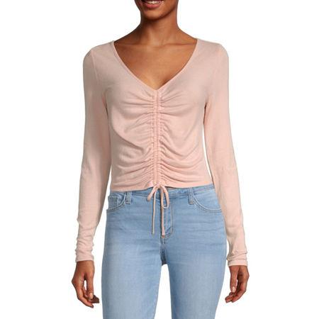 Arizona Juniors-Womens V Neck Long Sleeve T-Shirt, Medium , Pink