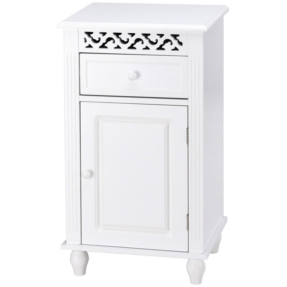 Bathroom Floor Storage Cabinet Organizer with Drawer (White)