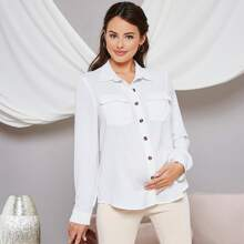 Maternidad camisa con bolsillo con boton delantero
