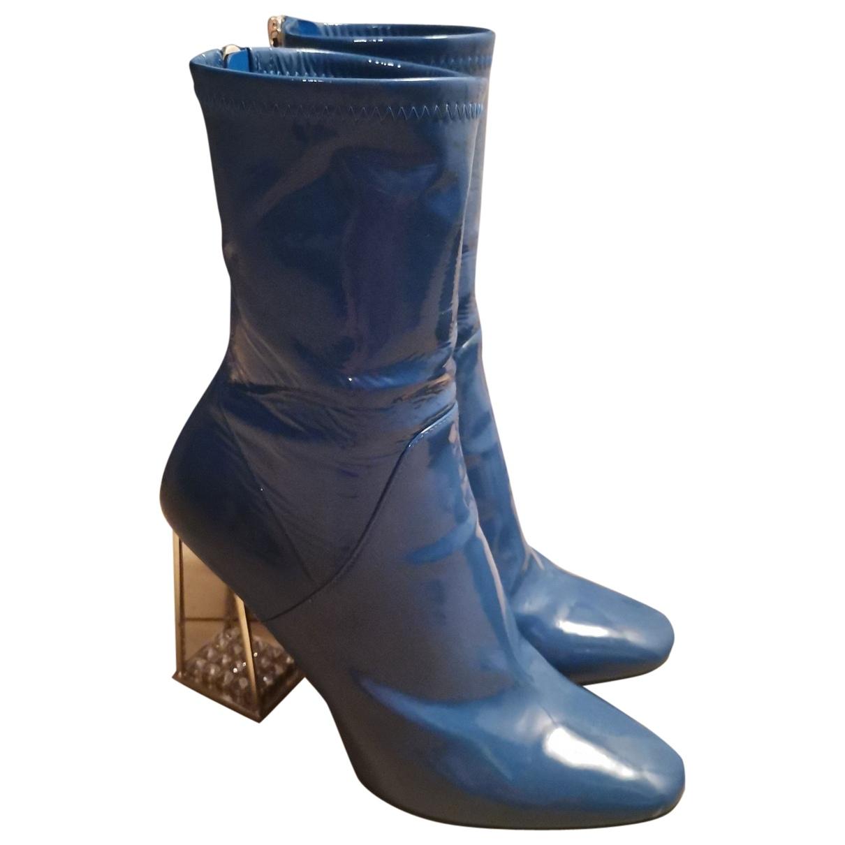 Dior \N Stiefeletten in  Blau Lackleder